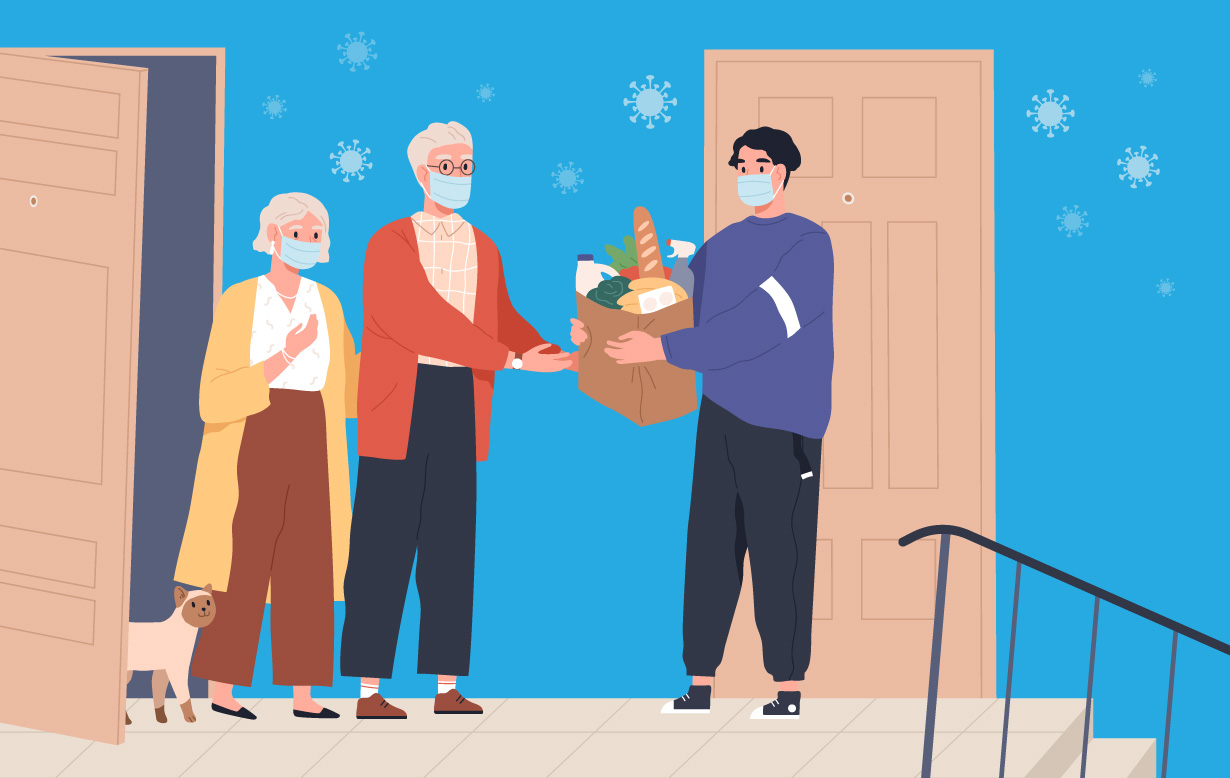 Illustration of an older couple accepting groceries from a delivery man. Everyone is wearing a mask to help fend off coronavirus.
