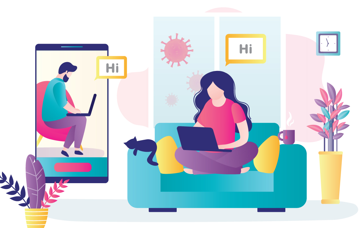 Illustration showing two friends staying connected during social distancing by using technology (laptop and smartphone).