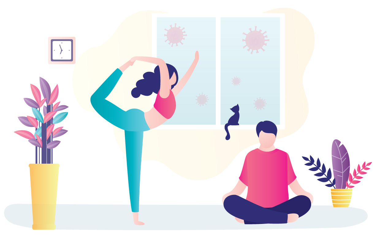 Illustration of a couple doing yoga and meditating at home while their cat sits perched at the window.