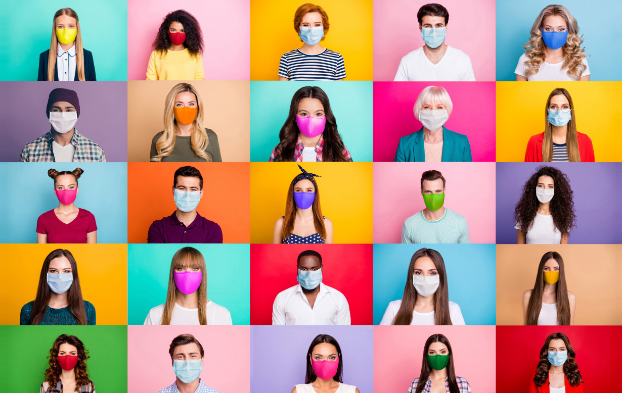 Multiple photos of people wearing masks of various types, fromsurgical to homemade cloth.