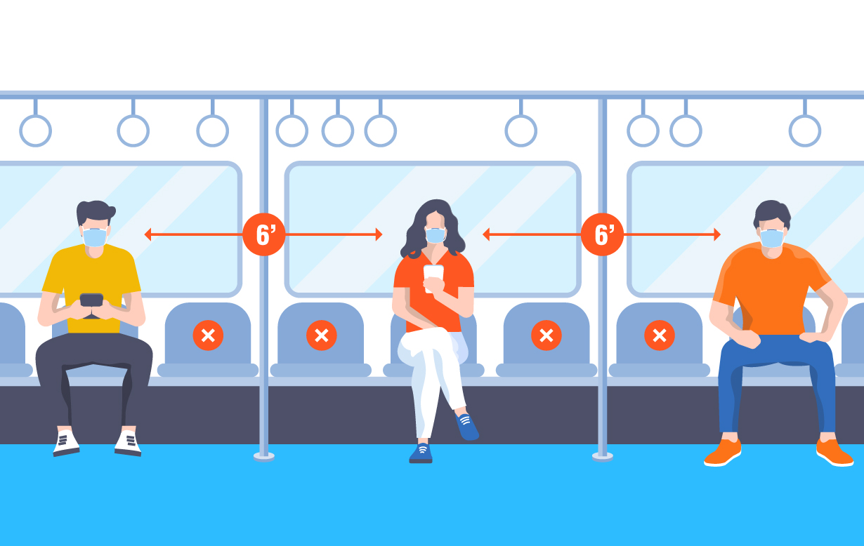 Illustration of people in the airport sitting 6-feet apart.