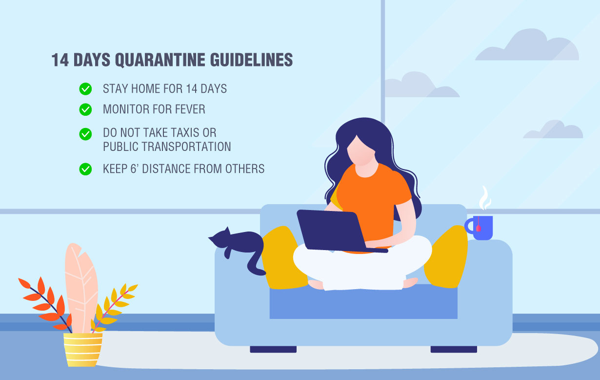 Illustration of a woman self-quarantining at home (with her cat) after traveling.