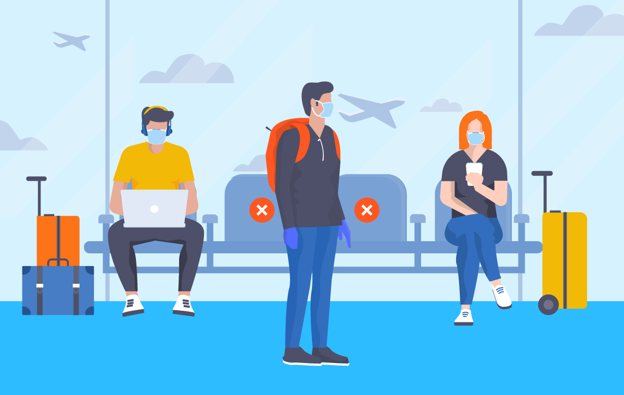 Illustration of three people in an airport wearing masks.